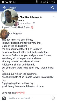 Char Bar's poem to  her bestie (me)