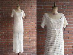 Vintage 1970s Getaway Dress / 70s white cream by GoldSeamVintage