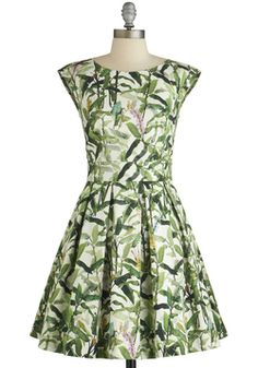 Fluttering Romance Dress in Flora. Ah, that familiar flutter of the heart you feel after fashioning yourself in this leaf-print frock, which is produced in the UK by Closet!  #modcloth