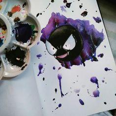 Gastly - watercolor