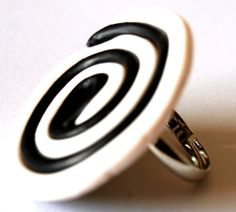 May 14 - Black and White Spiral Ring from Polymer Clay