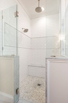 Shower 5 foot by 6 foot shower with built-in bench seat and dual heads one being a rain head Master Shower, Walk In Shower, Master Bathroom, Wooden Bathroom Cabinets, Shower Floor Tile, Bathroom Renovations, Bathroom Ideas, Bathrooms, Bath Ideas