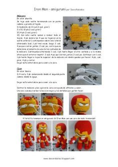 Patron Iron Man - amigurumi by daxarabalea via slidesharewhat a shame I don't speak Spanish. Crochet Amigurumi Free Patterns, Crochet Doll Pattern, Crochet Dolls, Love Crochet, Knit Crochet, Iron Man, Crochet Animals, Doll Patterns, Crochet Projects