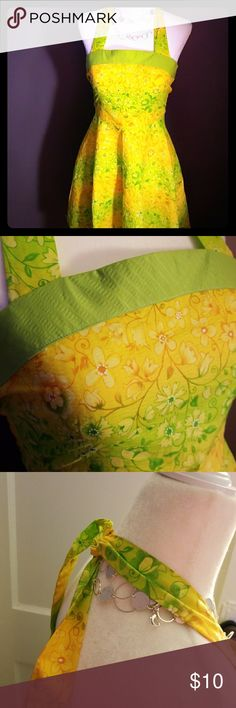 """XS BRIGHT YELLOW AND GREEN SUN DRESS. NEW NO TAGS XS BRIGHT YELLOW AND GREEN HALTER SUNDRESS. NEW NO TAGS BUST 14.5"""" LENGTH 28"""" Dresses"""