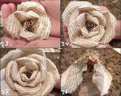 Roses from book pages... I've been wondering how to do this.  tutorial