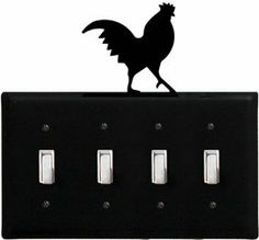 Rooster - Quadruple Switch Cover by Village Wrought Iron. $18.32. Rooster - Quadruple Switch CoverApprox. 8 1/4 In. W x 8 In. H Please allow 4 to 6 weeks for delivery.