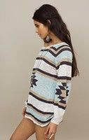 cream/teal Aztec sweater