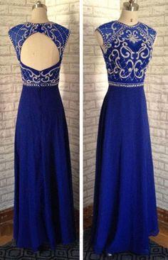 Royal Blue Beading Prom Dress,Long Prom Dresses,Cheap Prom Dresses,Evening Dress Prom Gowns, Custom Made Formal Women…