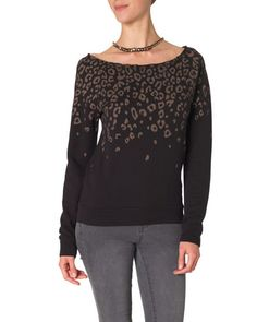 Leopard Print Sweater in Black
