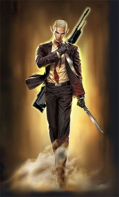 I like the attitude of the picture - would make a good PC for shadowrun. Possibly a former wage-slave or KE officer?
