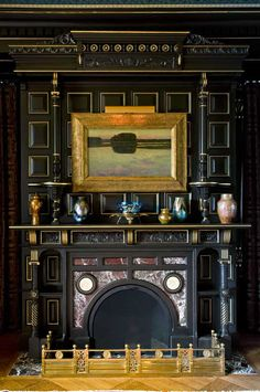 The Music Room, intended for nighttime entertainments, is a sophisticated expression of Aesthetic taste, with ebonized woodwork.