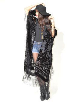 Sheer Silk Burnout Velvet Fringe Hippie Boho door SaldanaVintage