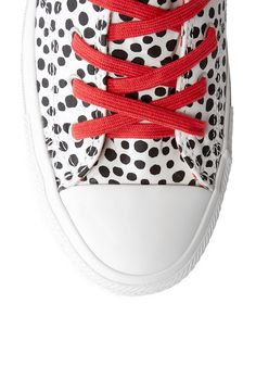 White & Black Spotted Canvas Chuck Taylor Plimsolls by Converse