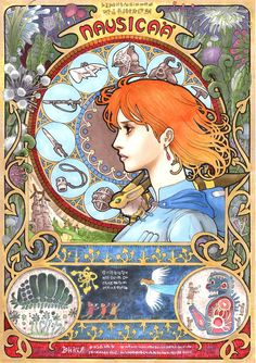 """Art Nouveau cover for Miyazaki's """"Nausicaa of the Valley of the Wind."""""""