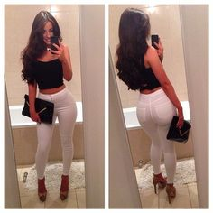 Another get fit goal...rock the hell our of white pants like this girl...