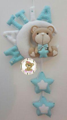 Fiocco nascita luna e orsetto personalizzabile