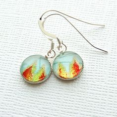 Glass cabochon earrings Japanese chiyogami by jinjajewellery, £6.00