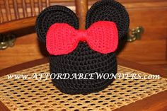 Free Crochet Mickey/Minnie Mouse inspired Hat Pattern.
