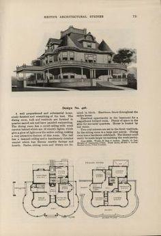 Victorian House Plans, Vintage House Plans, Victorian Homes, Vintage Homes, Architectural Floor Plans, Architectural Prints, Cottage Floor Plans, House Floor Plans, Home Design Plans