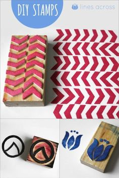 Make your own stamps with foam sheets and wood blocks! via Lines Across Make your own stamps with foam sheets and wood blocks! via Lines Across was last modified: October… Foam Crafts, Crafts To Do, Arts And Crafts, Diy Crafts, Craft Foam, Foam Sheet Crafts, Crafts With Foam Sheets, Diy Projects To Try, Craft Projects