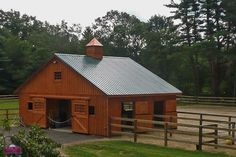 Horse Barns-Why not a House? Love the Look Goat Barn, Farm Barn, Prefab Garages, Prefab Sheds, Barns Sheds, Small Horse Barns, Luxury Horse Barns, Horse Barn Designs, Modular Cabins