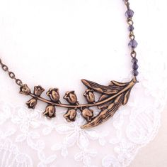 Lily of the Valley Necklace, Antiqued Brass Necklace, Flower Necklace