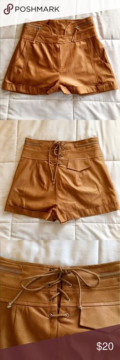 Killer Shorts🤘 These shorts are one of a kind. Everyone will compliment you on them. Faux leather, super soft, have a lining inside so they won't be sticky at all when wearing them. New, never worn. Plastic Island Shorts