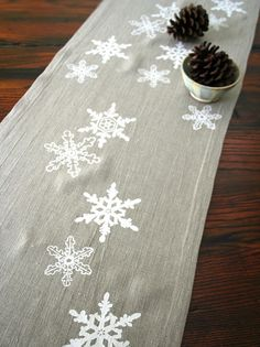 Linen Table Runner. Snowflake. Winter. Holiday Decor. Christmas Gift. Hand Screen Printed. on Etsy, $58.00