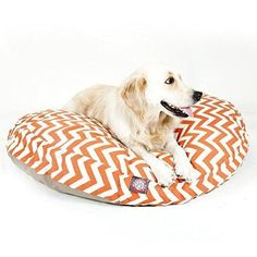 Small Orange Chevron Stripes Pattern Dog Bed Elegant Zig Zag StripeInspired Pet Bedding Round Shape Features Water Stain Resists Removable Cover Soft Comfy Design Plush Polyester