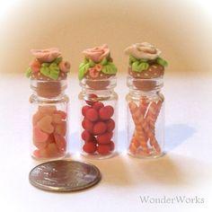 Pink Sweets in Fancy Glass Bottles Delicately Hand by wonderworks, $23.50
