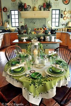 Saint Patty Day, simple table setting yet so inviting! Love this kitchen, cute stenciling above the windows