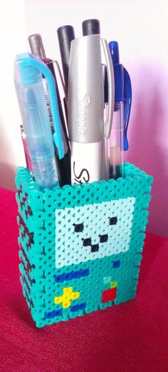 3D Perler Bead Beemo Pen/Pencil Holder by EnveeArt