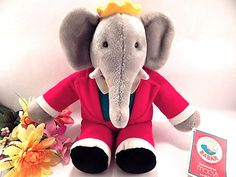 Babar the Elephant King Stuffed Plush Animal VTG 1988 Gund Collectible Macys Toy