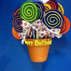 Birthday lollipops made with Pixie Stix!