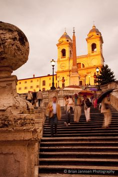 Evening rain at the Spanish Steps, Rome Italy. © Brian Jannsen Photography