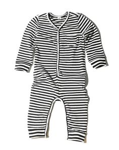 Goat-Milk Long Sleeve Striped Union Suit (Jersey) at Noble Carriage #baby #onesie