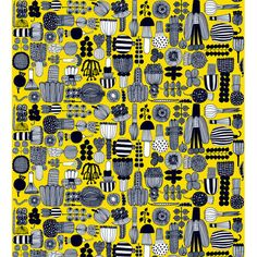 Marimekko Puutarhurin Yellow / Black Cotton Fabric Get your daily serving of veggies from Puutarhurin (Gardener's) fabric. Designed by Maija Louekari, each black and white vegetable has a sketch-like quality and is neatly arranged on a bright yellow ba. Pattern Dots, Doodle Pattern, Pattern Texture, Geometric Patterns, Textile Patterns, Abstract Pattern, Print Patterns, Color Patterns, Textiles