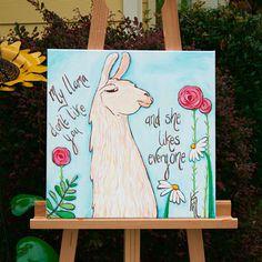 Items similar to My llama don't like you and she likes everyone. Original llama Painting on Etsy Alpacas, Painting People, Painting For Kids, Diy Painting, Kids Canvas, Canvas Art, Llama Face, Llama Llama, Llama Arts