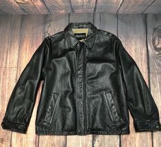 05946cf77e8 EDDIE BAUER Distressed Black Leather Bomber Jacket Men s Sz Large   EddieBauer  Bomber Vintage Leather