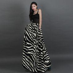 Online Shop New 2014 Summer Women's Fashion High Waist Pleated Zebra Print Striped Bust Full Skirt Plus Size S-XXXL HA1403|Aliexpress Mobile