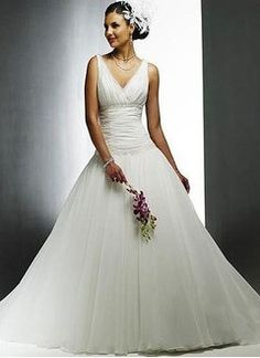 A-Line/Princess V-neck Court Train Satin Tulle Wedding Dress With Ruffle
