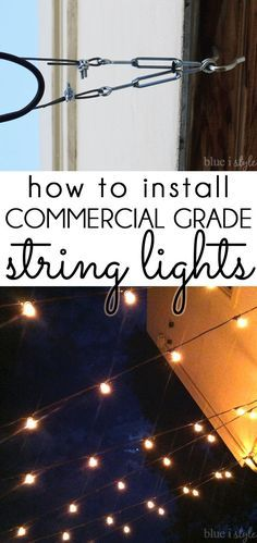 HOW TO HANG OUTDOOR STRING LIGHTS! Patio string lights are a great for adding ambiance and style to a backyard. Detailed tutorial on how to hang cafe string lights. Commercial grade string lights are ideal for permanent installation in your yard. Backyard Lighting, Outdoor Lighting, Lighting Ideas, String Lighting, Outdoor Patio String Lights, How To Hang Patio Lights, Hanging Patio Lights, Club Lighting, Accent Lighting