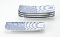 Kasanejima - Overlaid Stripes serveware, Hakusan Pottery (重ね縞角皿, 白山陶器). Masahiro Mori. 森正洋