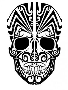 Tribal skull tattoo from frontal view