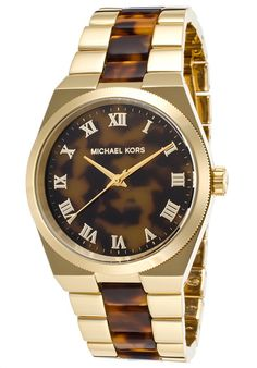 Michael Kors Watches Women's Channing Gold-Tone SS and Tortoise Acetate Tortoise Dial MK6151,    #MichaelKors,    #MK6151,    #Fashion