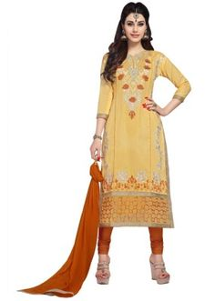 Eid Special  Yellow Cambric Cotton Churidar Suit - 1063