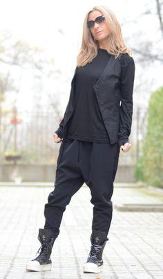 Black Drop Crotch Pants/Asymmetrica Pants/Loose Black by Adeptt