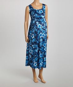 Love this Blue Floral Maternity Maxi Dress by CT Maternity on #zulily! #zulilyfinds