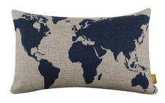 "LINKWELL Burlap Linen Dark Blue World Map 20"" X 12"" Decorative Cushion Cover Pillow Case"