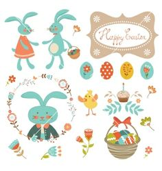 Easter collection vector by Olillia on VectorStock®